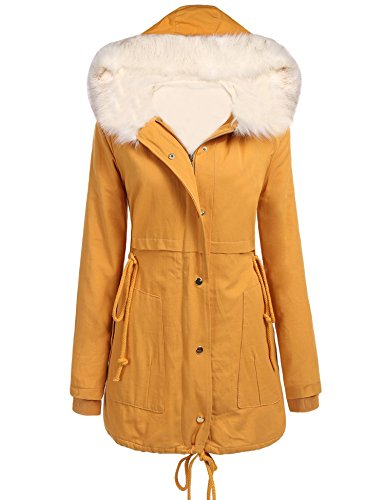 5cf9bb3e8688 sholdnut Womens Faux Fur Trim Hood Long Fleece Lined Drawstring Parka Jacket  by sholdnut