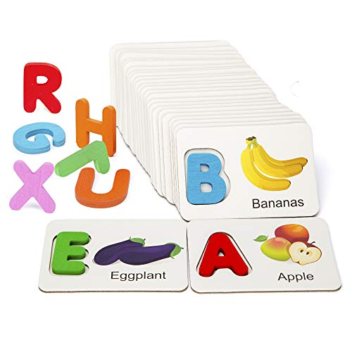 Youwo Puzzle Letter Card Alphabet Flash Cards Wooden Letters Jigsaw Toddler ABC Learning Color Recognition Educational Toys Age 2 and Up. (Fruit And Vegetable Cards)