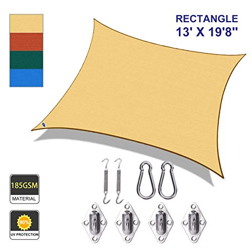 Cool Area SS-18522-R Shade sail 13' X 19'8'' with Hardware, Sand (Shade Provide Do Pergolas)