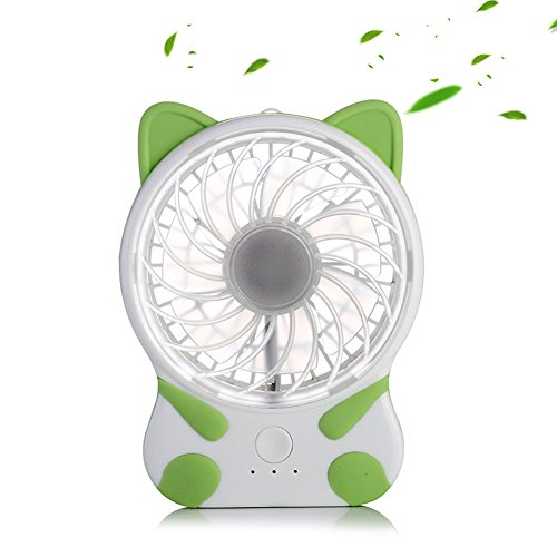 Mini Desk Fan Lovely Cat Shape Rechargeable Fans Micro USB C
