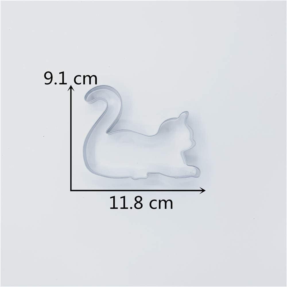 11,8 x 9,1 cm Acero Inoxidable KENIAO Cortadores de Galletas Jugando al Gato