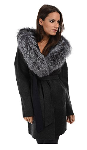 Intuitions Paris Coat Missie Anthracite/Navy (Cashmere Wool 3/4 Coat)