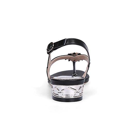 AgooLar Mujeres Mini Tacón Sólido Hebilla Puntera Dividida Sandalia Negro