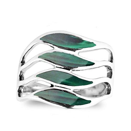 AeraVida Amazing Waves Myriad of Green Malachite Stone Sterling Silver Ring (6)