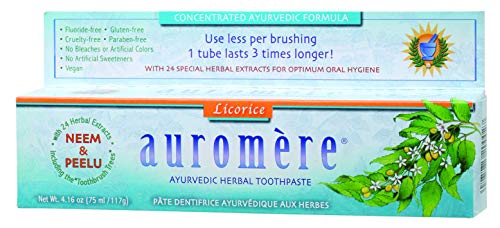Ayurvedic Herbal Toothpaste (Classic)Licorice by Auromere - Fluoride-Free, Natural, with Neem and Vegan - 4.16 Ounce (Best Ayurvedic Beauty Products)