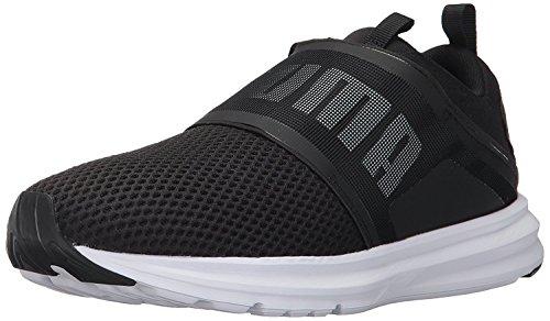 Enzo Suede Sneakers - PUMA Men's Enzo Strap Sneaker, Black White, 12 M US