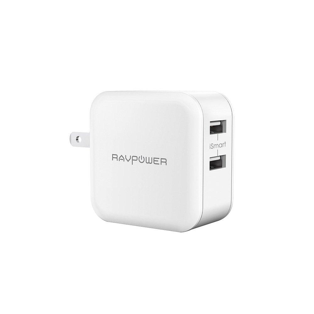 USB充電器 RAVPower 24W 2ポート 充電器 iPhone iPad スマホ タブレット モバイルバッテリー 等対応 acアダプタ 急速充電器 (ホワイト)