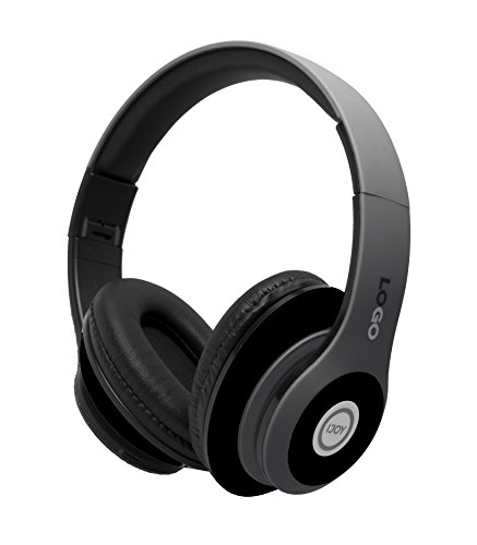 iJoy Matte Rechargeable Wireless Bluetooth Foldable Over Ear Headphones with Mic, Stealth