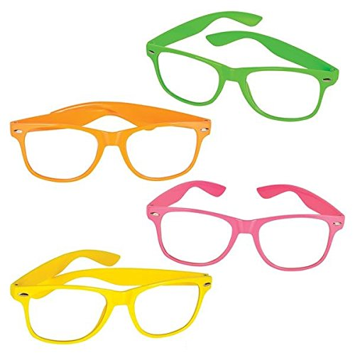12 Pcs Nerd Glasses Neon Colors With Clear Lens – Birthday, Party Favors, Novelty, Fashion, For Kids & Adults - By (Cute Girl Nerd Costumes Halloween)