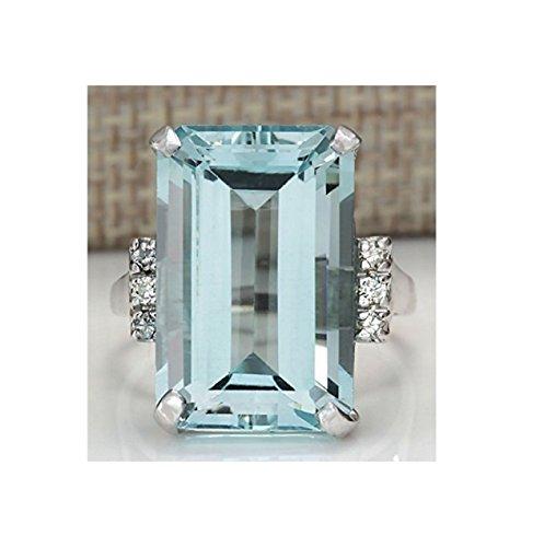 Sumanee Vintage Women 925 Silver Aquamarine Gemstone Ring Wedding Jewelry Size 6-10 (8)