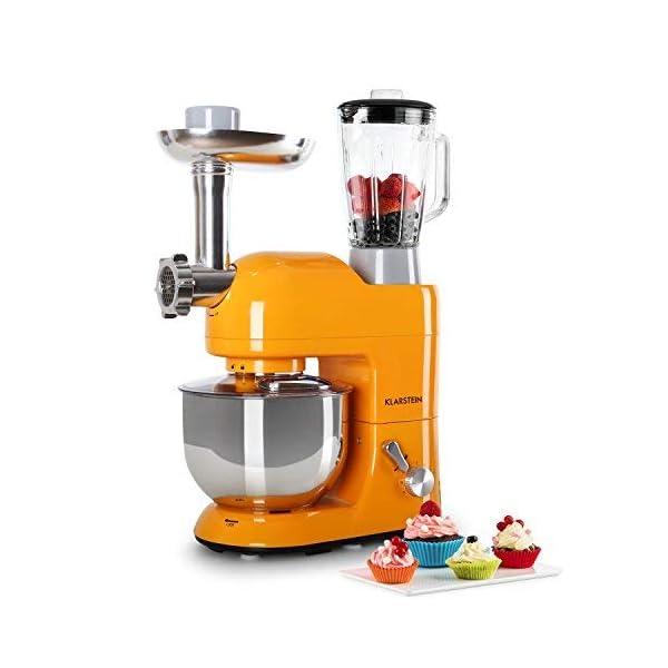 Klarstein Lucia Rossa - robot da cucina , mixer , impastatrice , 1200 W , 5 L , sistema planetario , tritacarne , ganci… 7