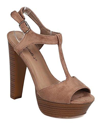 Breckelles T Strap Wooden Chunky Sandal