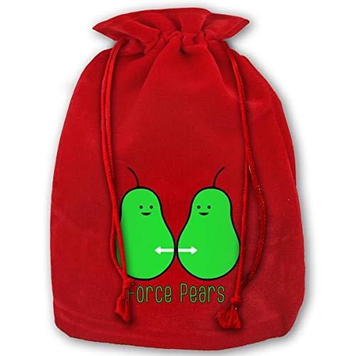 HYEECR Force Pears Christmas Bags Santa Present Sack Drawstring Bag Holiday Wrapping