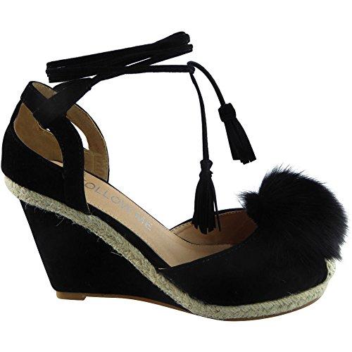 Neue Frauen Spitze Binden Fell Pom Pom Keil Schuhe Größe 38 eiGBYw6
