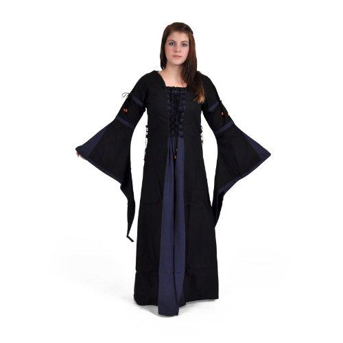 S Größen Look im schwarz Leinen XXL Mittelalter Blau Baumwolle lang blau qSxOc08