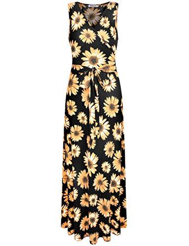 Aphratti Women's Sleeveless Faux Wrap V Neck Floral Vintage Long Maxi Dress Sunflower14904 ()