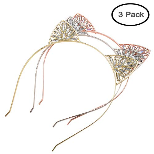 Aegenacess Cat Ear Headband Crown Kitty Fashion Flower Rhinestones Crystal Metal Headwear Makeup Halloween Cosplay Costume Accessories Xmas Gift for Women and Girls (Rose gold/Gold/Silver) (3 pack-1) for $<!--$15.98-->