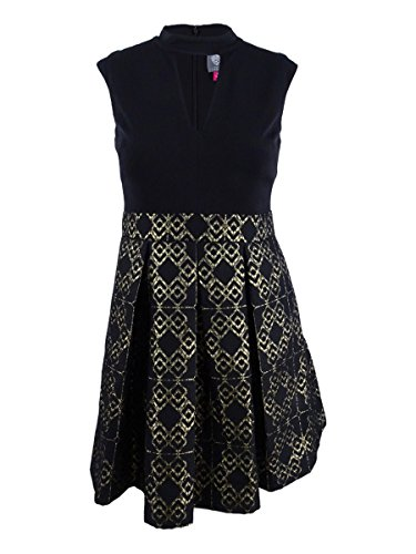 Pleated Vince Dress (Vince Camuto Women's Ity Top w/ Jacquard Pleated Skirt Dress Black/Gold 14)