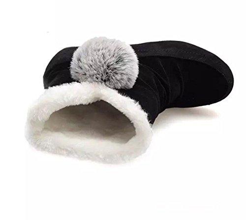 MEILI Damenschuhe, Damenstiefel, Schneeschuhe, Stiefel, flach mit, erhöht innerhalb der Studentenschuhe, plus Kaschmir, Verdickung, matt, Baumwollschuhe, wild, lässig, Mode black