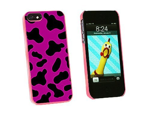 Graphics and More Cow Print Fuchsia Snap-On Hard Protective Case for iPhone 5/5s - Non-Retail Packaging - Pink
