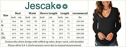 Jescakoo Women's Short Sleeve Cut Out Cold Shoulder Tops Deep V Neck T Shirts