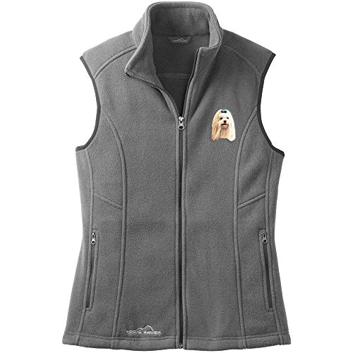 Cherrybrook Dog Breed Embroidered Womens Eddie Bauer Fleece Vest - XXX-Large - Gray Steel - Maltese