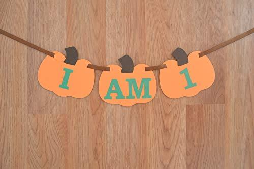 (Pumpkin I am 1 Fall High Chair Birthday Banner)