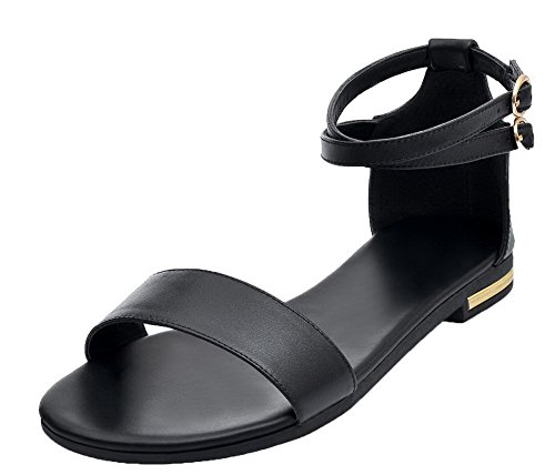 Sintético Puntera Tacón Vestir Negro Mini Mujeres Sandalias De Gmxla007348 Abierta Agoolar 4xqwfC