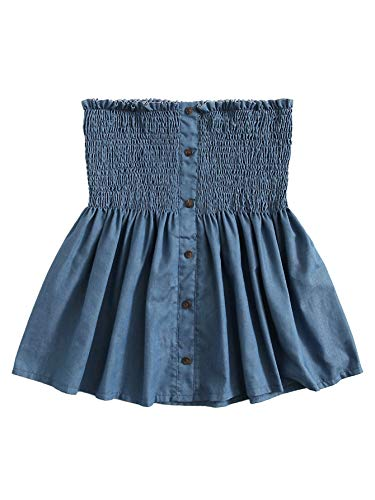 (SheIn Women's Frill Strapless Ruffle Hem Pleated Bandeau Tube Peplum Top Blouse Medium Blue#2)