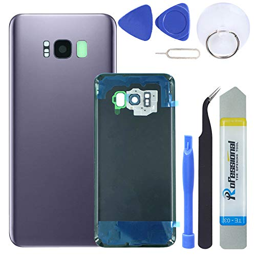 (MAGIAI Rear Glass Assembly Samsung Galaxy S8 Plus (All Carriers) Back Glass Panel Cover Housing + Camera Bezel & Lens + Fingerprint Sensor Adhesive Replacement Pry Tools (Grey))