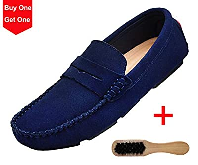 YiCeirnier Men's Loafers Driving Shoes Slip On Suede Shoes Casual (Included: 1pc Shoe Brush)