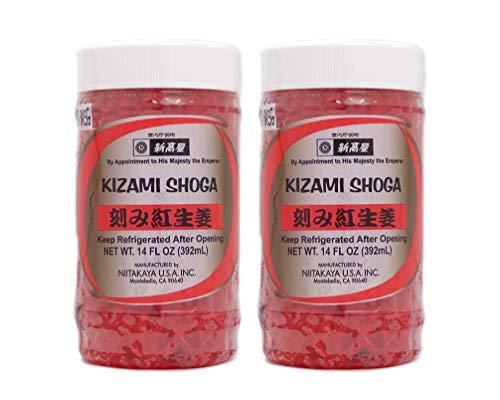 Kizami Beni Shoga (Pickled Ginger) -14 fl oz- [Made in USA, No MSG, RCC Kosher, Sugar Free] (2-PACK)