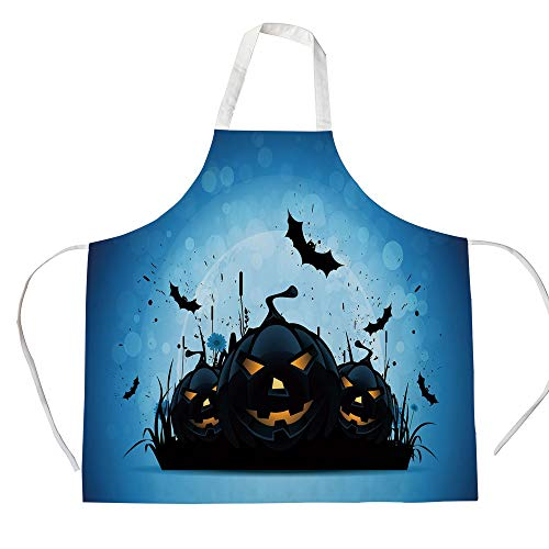 Halloween 3D Printed Cotton Linen Apron,Scary Pumpkins in Grass with Bats Full Moon Traditional Composition Decorative,for Cooking Baking Gardening,Black Yellow Sky Blue]()