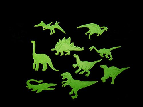 Viskey Pack of 5 Glow In The Dark Fluorescent PVC Wall Stickers, Dinosaur