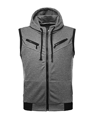 Big And Tall Ribbed Vest - uxcell Men Ribbed Hem Drawstring Design Hoodie Vest Gray L (US 42)