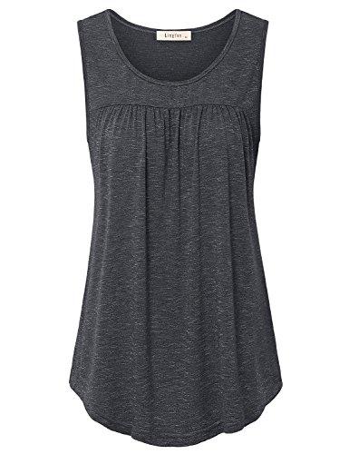 (Lingfon Women's Sleeveless Scoop Neck Casual Pleated Front Tank Shirt(XL,Black))