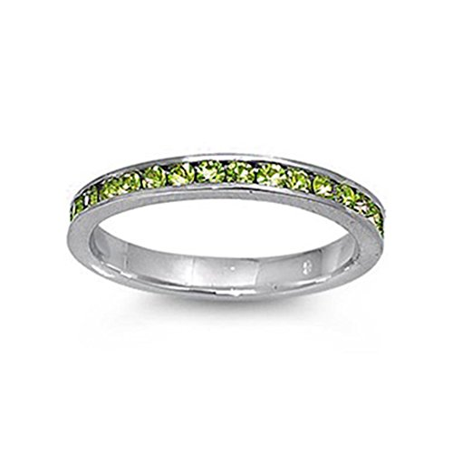 Swarovski Peridot Ring Crystal (Noureda Sterling Silver Classy Eternity Band Ring with Peridot Green Swarovski Simulated Crystals on Channel Setting with Rhodium Finish, Band Width 3MM)