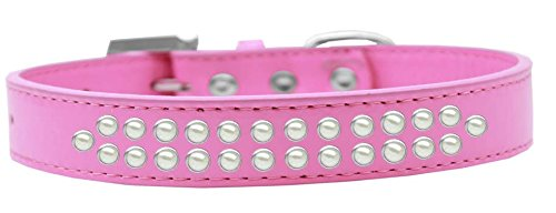 Mirage Pet Products Two Row Pearl Bright Pink Dog Collar, Size 20 by Mirage Pet Products