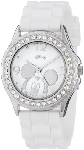 Disney Women's MK1093 Mickey Mouse Rhinestone-Accented Silver-Tone Watch with White Rubber Strap