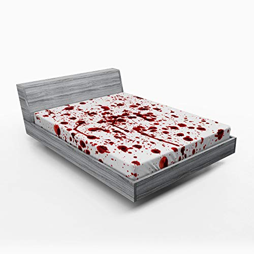 Halloween Bed Sheets (Ambesonne Horror Fitted Sheet, Splashes of Blood Grunge Style Bloodstain Horror Scary Zombie Halloween Themed Print, Soft Decorative Fabric Bedding All-Round Elastic Pocket, Queen Size, Red)