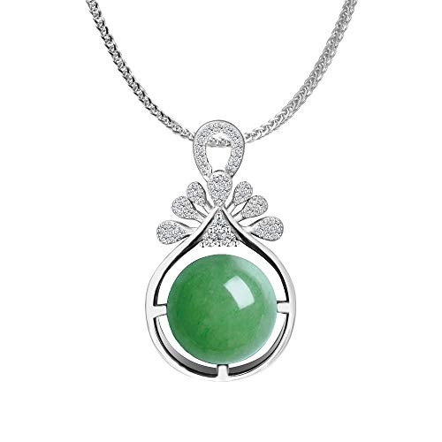 iSTONE 925 Sterling Silver Natural Green Aventurine Ladies Pendant Necklace, Gemstone Birthstone with 18