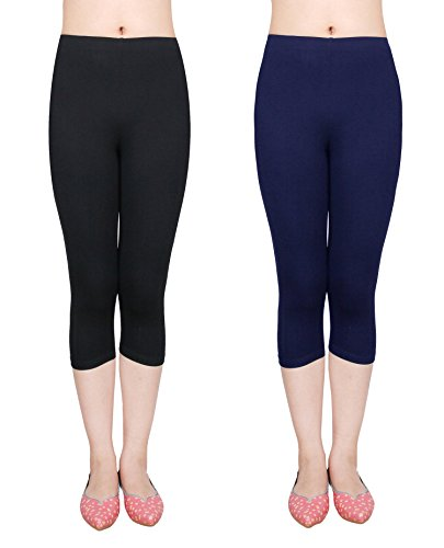 IRELIA 2 Pack Modal Girls Leggings Capri Solid