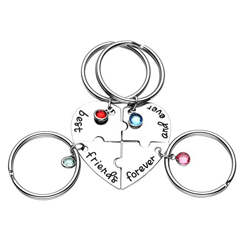 Jovivi 4pcs Spilt Heart Alloy Rhinestones Engraved Best Friends Forever and Ever Puzzle Keychains BBF Friendship Jewelry for Women Girls