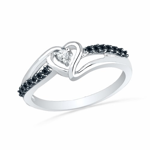 - Sterling Silver Round Diamond Black And White Heart Promise Ring (1/10 cttw)