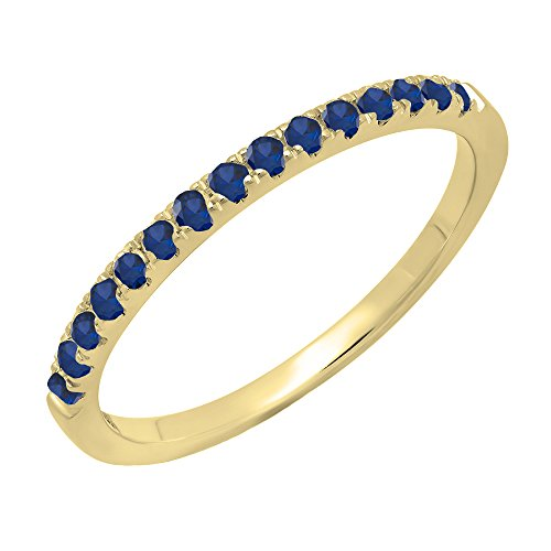 (Dazzlingrock Collection 14K Round Blue Sapphire Ladies Bridal Stackable Wedding Band 1/4 CT, Yellow Gold, Size)