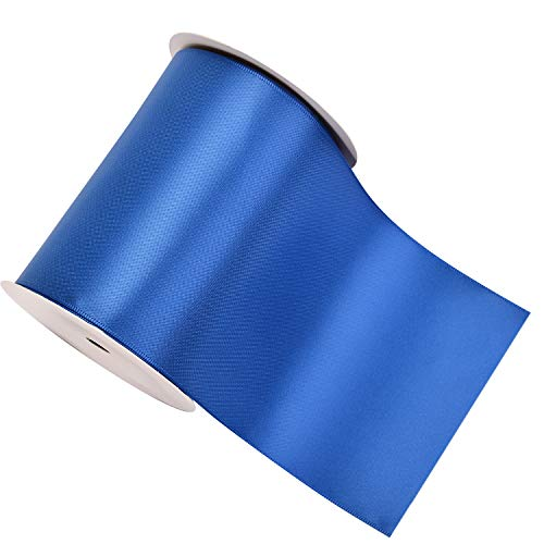YAMA Double Face Satin Ribbon Roll - 4 inch Wide Solid Color Craft Ribbon, Great for Chair Sash- 5 Yard/Spool, Royal Blue