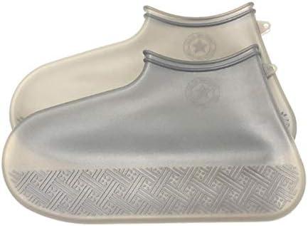 2020 Nuevas Botas de Lluvia Reutilizables Antideslizantes Cubren Botas de Goma de Silicona Impermeables Cubren Zapatos Accesorios de Calzado sólido Neutro - B4-Gris, M