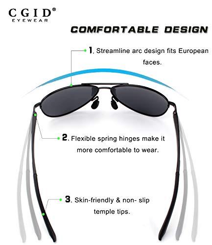 completas Prima Pilot resorte de para Mujeres CGID Plata gafas gafas Plata A Al UV400 de de polarizadas duplicadas sol sol aleación bisagras Mg GA61 de Hombres a665qOY