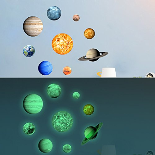 Kids Room Wall Stickers Glow in the Dark Decor Solar System Glowing Decals Wallpaper Decorations for Boys and Girls