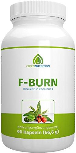 Green Nutrition - F-Burn - 90 Kapseln - 100% Natürlich - Guarana Extrakt - Grüner Kaffee - Grüner Tee - B6 & B12 Vitamine - geeignet für Frauen und Männer - 1er Pack
